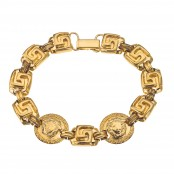 VINTAGE GIANNI VERSACE GOLD TONED BRACELET WITH MEDUSA AND GRECA