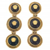 VINTAGE GIANNI VERSACE BLACK AND GOLD 3 MEDUSAS DANGLING EARRINGS