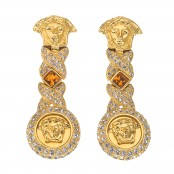 VINTAGE GIANNI VERSACE RARE MEDUSA AND ORANGE STONE EARRINGS