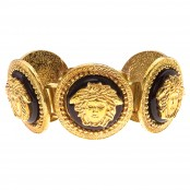 VINTAGE GIANNI VERSACE MASSIVE BLACK AND GOLD BRACELET WITH 5 MEDUSAS – SOLD