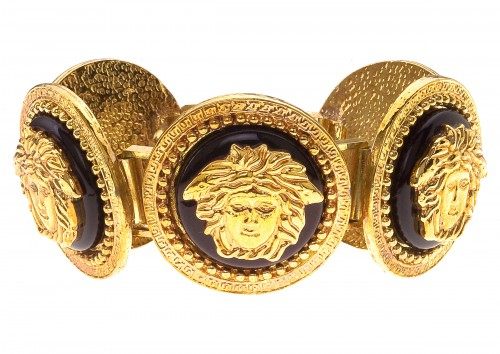 VINTAGE GIANNI VERSACE MASSIVE BLACK AND GOLD BRACELET WITH 5 MEDUSAS