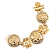 VINTAGE GIANNI VERSACE MASSIVE GOLD MEDUSA AND GRECA MOTIF BRACELET