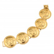 VINTAGE GIANNI VERSACE MASSIVE GOLD TONED BRACELET WITH 5 MEDUSAS