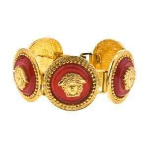 VINTAGE GIANNI VERSACE RED/GOLD MEDUSA BRACELET