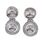 VINTAGE GIANNI VERSACE WHITE AND SILVER DANGLING EARRINGS WITH MEDUSA