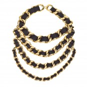 VINTAGE CHANEL MASSIVE BLACK/GOLD CHAIN 4 ROW NECKLACE