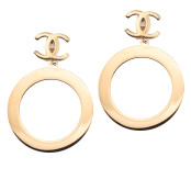 VINTAGE CHANEL MASSIVE DANGLING HOOP EARRINGS