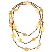VINTAGE CHANEL ICONIC MOTIF CHARM & LEATHER LONG NECKLACE
