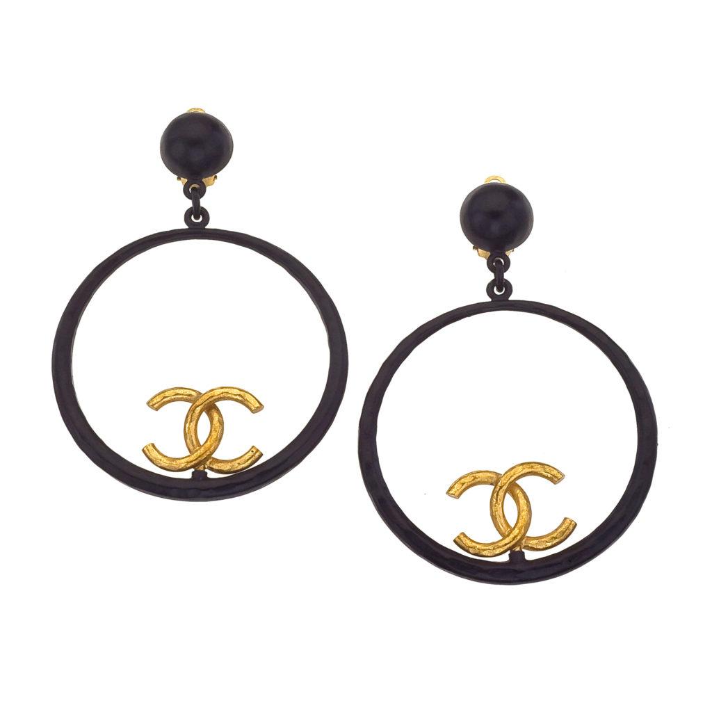 Vintage Chanel Large Black And Gold Hoop Earrings