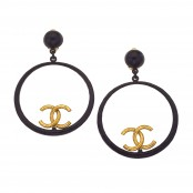 VINTAGE CHANEL LARGE BLACK AND GOLD HOOP EARRINGS