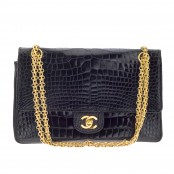VINTAGE CHANEL CROCODILE DOUBLE FLAP BAG