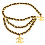 VINTAGE CHANEL BLACK/GOLD MASSIVE 3 ROW CHAIN BLET