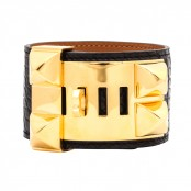 HERMES COLLIER DE CHIEN BANGLE BRACELET MATTE BLACK ALLIGATOR/GOLD