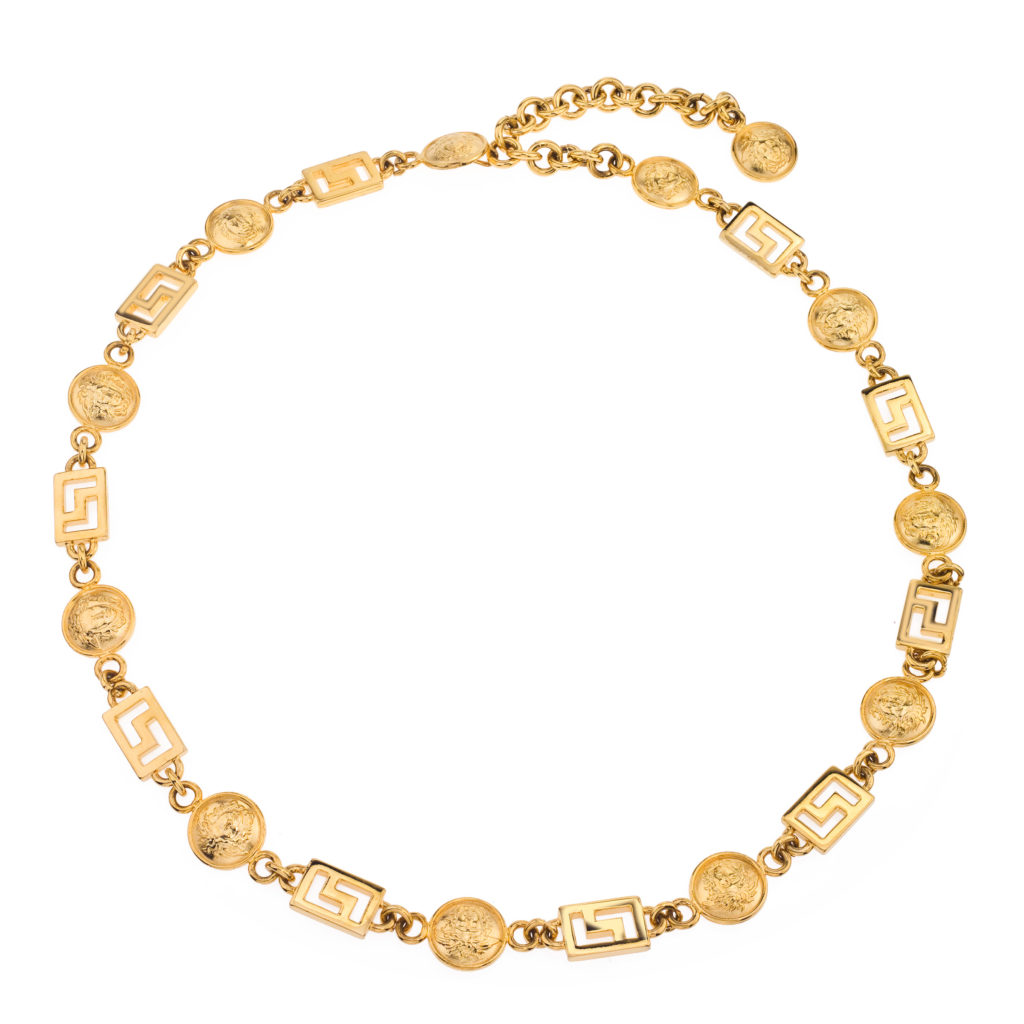 vintage versace medusa and greca chain belt necklace