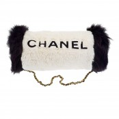 "VINTAGE CHANEL HAND MUFF WHITE/BLACK WITH ""CHANEL"" LOGO"