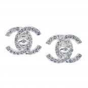 VINTAGE CHANEL SILVER CC CLIP-ON EARRINGS