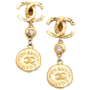 VINTAGE CHANEL LONG COIN DANGLING EARRINGS WITH CC