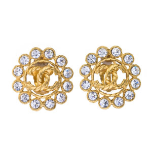 VINTAGE CHANEL RHINESTONE CC CLIP-ON EARRINGS
