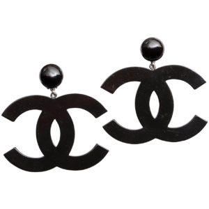 VINTAGE CHANEL LARGE BLACK CC DANGLING EARRINGS
