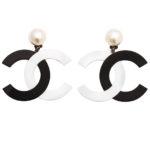 VINTAGE CHANEL RARE BLACK/WHITE LARGE CC DANGLING EARRINGS