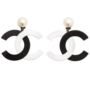 VINTAGE CHANEL RARE BLACK/WHITE LARGE CC DANGLING EARRINGS