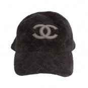 VINTAGE CHANEL VELVET CAP HAT WITH LEATHER CC LOGO