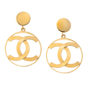 VINTAGE CHANEL ICONIC CC DANGLING EARRINGS