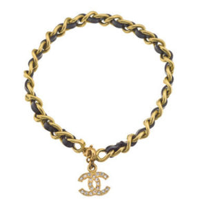 VINTAGE CHANEL GOLD AND BLACK ANKLET/BRACELET