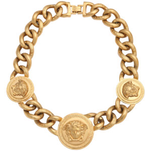 VINTAGE VERSACE 3 MEDUSA GOLD CHAIN NECKLACE