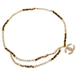 VERY RARE VINTAGE CHANEL RHINESTONE BELT/NECKLACE WITH BLACK AND GOLD CHAIN