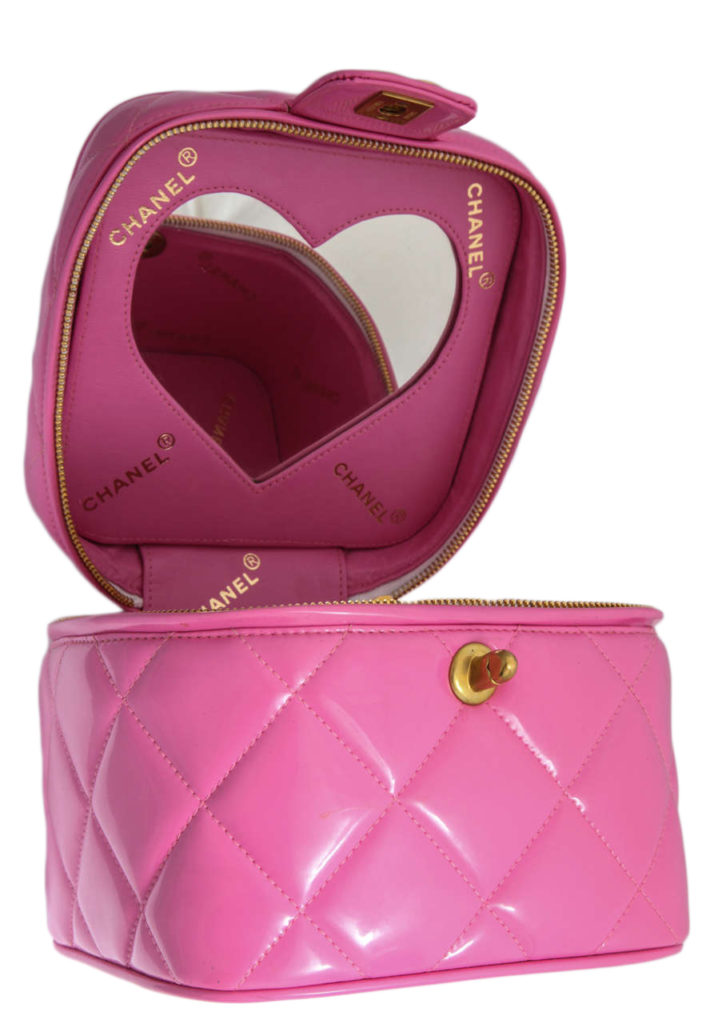 Vintage Chanel 1995 Pink Heart Mirror Vanity Case Bag