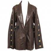 VINTAGE CHANEL LEATHER MILITALY JACKET WITH CC BUTTONS