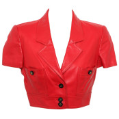 VINTAGE CHANEL RARE RED CROPPED LETHER JACKET