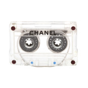 COLLECTIBLE CHANEL MINI CASSETTE TAPE MOTIF BROOCH