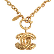 VINTAGE CHANEL QUILTED CC NECKLACE MEDIUM