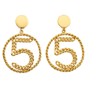 VINTAGE CHANEL NO.5 CHAIN MOTIF EARRINGS