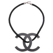 VINTAGE CHANEL LARGE BLACK CC LOGO NECKLACE