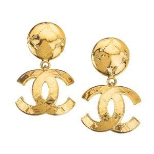 VINTAGE CHANEL QUILTED CC EARRINGS