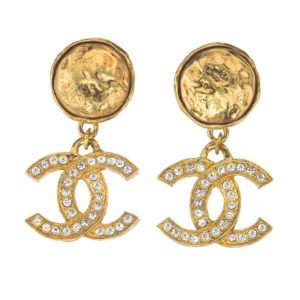 VINTAGE CHANEL RHINESTONE CC EARRINGS