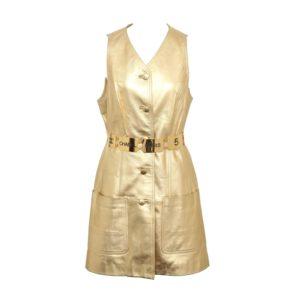 VINTAGE CHANEL GOLD LEATHER DRESS 1994
