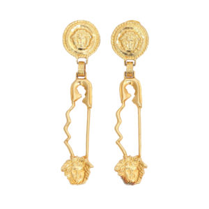 RARE GIANNI VERSACE LARGE SAFETY PIN EARRINGS