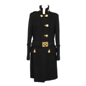 VERSACE AMAZING RUNWAY BLACK MILITARY COAT WITH MEDUSAS