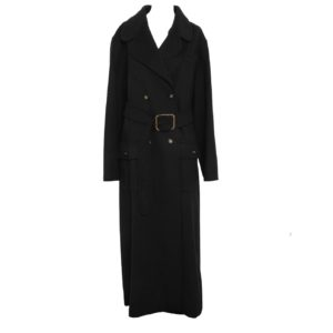 VINTAGE CHANEL CASHMERE BLACK LONG COAT WITH CC BUTTONS AND BELT