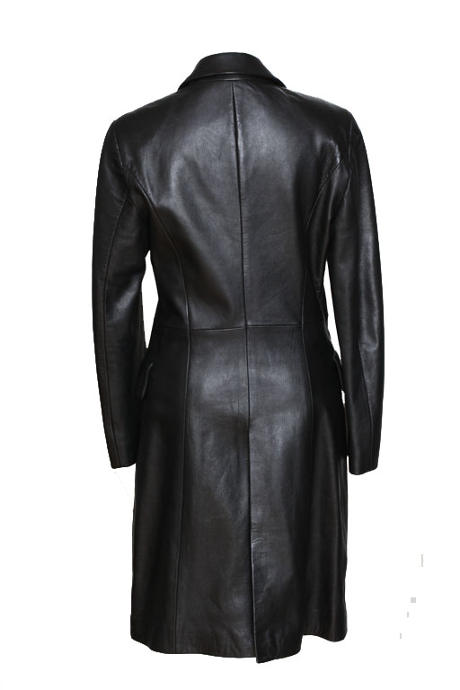 Black With Jeans Vintage Coat Versace Couture Leather Medusa 6gyvYb7f