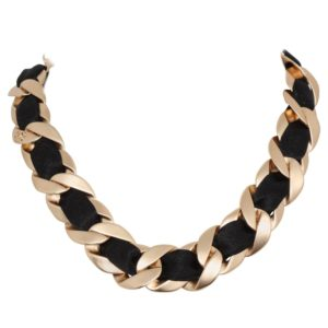 CHANEL ICONIC BLACK/GOLD CHOKER WITH CC