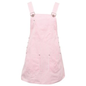 VERSACE JEANS COUTURE PINK PLAID OVERALL DRESS WITH MEDUSAS