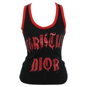 CHRISTIAN DIOR RED/BLACK GOTHIC LOGO TANK TOP T-SHIRT