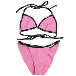 EXTREMELY RARE CHANEL PINK BIKINI WITH LOGOS