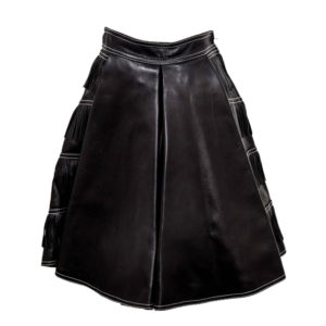 VINTAGE GIANNI VERSACE ICONIC 1992 RUNWAY BLACK LEATHER FRINGE SKIRT