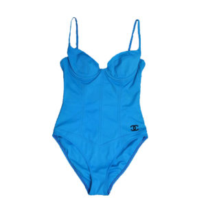 VINTAGE CHANEL 1995 BLUE SWIMSUITS AS SEEN ON CLAUDIA SCHIFFER